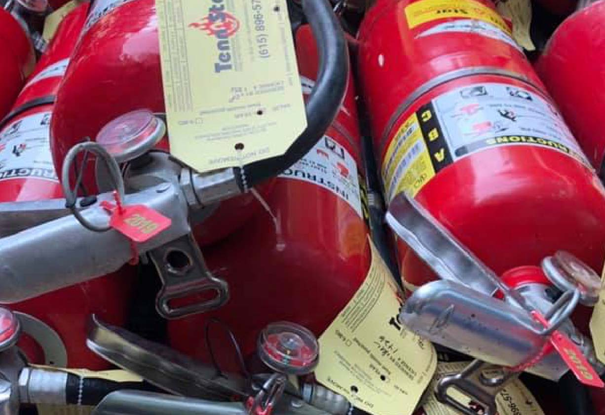 Fire extinguishers pile